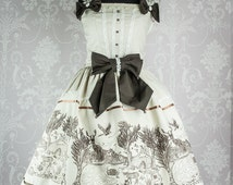 """Made to order """"wandering in the woodland"""" classic lolita brown on cream border print"""