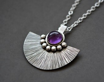 Sterling silver necklace with amethyst. Sterling silver pendant with amethyst. Amethyst necklace. Silver jewellery. Handmade. MADE TO ORDER.