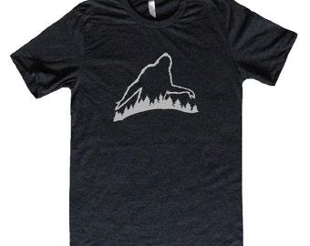 Sasquatch in the Forest -  Big Foot Mens Shirt - Mens Outdoors Shirt - Unique Mens Shirt - Funny Mens Clothing - Sci Fi T Shirt
