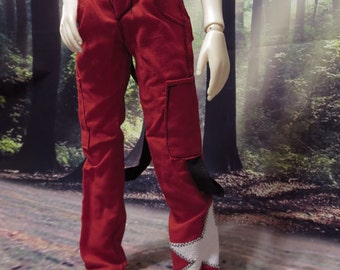 Red and Black Starred Strap Pants for 45cm MSD BJD