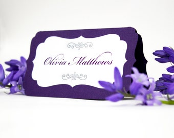 Place Card Tents, printed or blank wedding escort cards, buffet labels, printed name cards, elegant die-cut bracket, layered folded cards