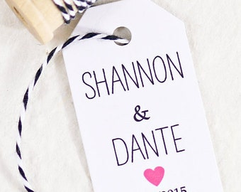 Wedding Favor Tag - Personalized Tags - Wedding Gift Tag, Bridal Shower Favor Tag, Wedding Tags, Name Tags - Set of 25 (SMGT-HND)