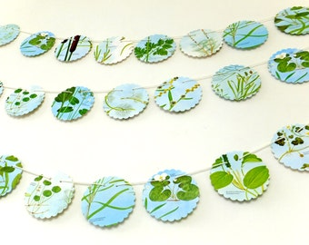 Botanical Bunting, Plants Banner,  Eco-friendly garland, recycled pennants, flower garland, blue and green, Wedding decor