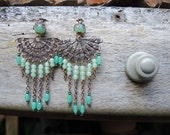 peacock - earrings with copper and a lot of sea green beads