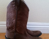 Vtg Old West Chocolate Brown Cowboy Boots // Brown leather classic western cowboy boots // Womans size 7.5