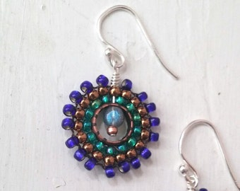 Peacock Blue and Copper Beaded Earrings
