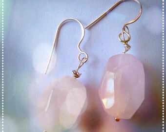 Rose quarts earrings-pink quarts earrings-romantic bridesmaids gift-delicate pale pink -triangle geometric- mom gift geometric- yoga jewelry