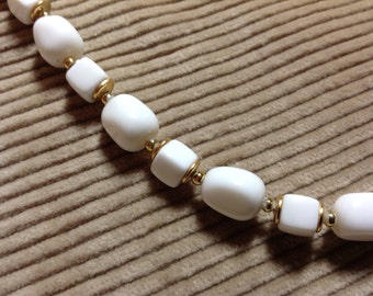 Vintage Beaded Necklace, white and gold beads, nice weight, 80's