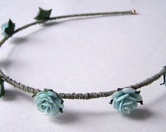 Robin's Egg Blue Rose Headband