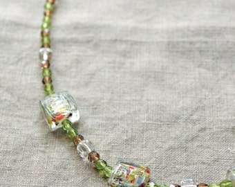 Lime Confetti Bead Necklace