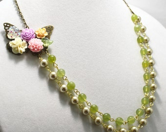 Shabby Pearl and Jade Necklace Bridal Necklace Vintage Style Jewelry Butterfly Flower Asymmetrical Bridesmaid Necklace