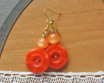 Bright Orange Earrings, Vintage Buttons and Beads