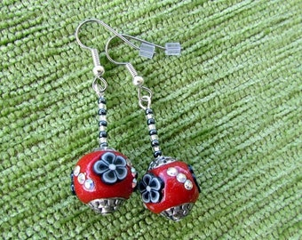 Red  Bejewelled Handmade Beaded Earrings with Gunmetal and Silver
