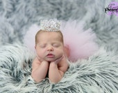 Sweetheart Tutu and Crown Set for Baby Baby's First Photos Birthday Princess Photo Props Valentines Hearts Silver ANY COLOR TUTU- Valentina
