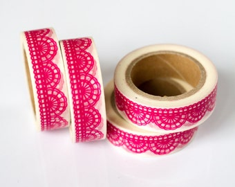 WASHI TAPE CLEARANCE - 1 Roll of Hot Pink Fuschia Scallop Lace Doily Washi Tape / Decorative Masking Tape (.60 inches wide x 33 feet long)