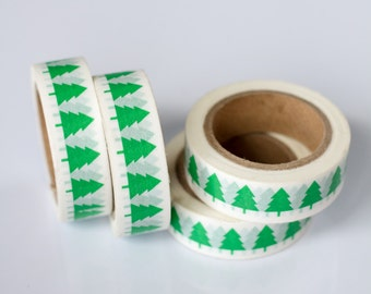 WASHI TAPE CLEARANCE - 1 Roll of Kelly Green Christmas Trees Holiday Washi Tape / Decorative Masking Tape (.60 inches wide x 33 feet long)