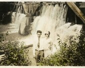 "Vintage Hand Tinted Photo ""After the Rain"" Couple Waterfall Snapshot Photo Old Antique Photo Hand Colored Black & White Paper Ephemera - 64"