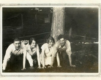 "Vintage Photo ""Crawling Contest"" Women Men on Hands and Knees Snapshot Photo Old Antique Black & White Photograph Found Paper Ephemera - 78"