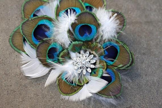 SALE! Elegant Vintage Peacock Bridal Fascinator