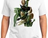 Crow Blackbird Retro Men & Ladies T-shirt - Gift for Bird Lovers and Ornithologist (idc007)