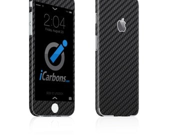 iCarbons Black Carbon Fiber iPhone 6 / 6 Plus 6S / 6S Plus Skin Decal FULL COMBO