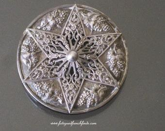 Moroccan Silver Brooch 6 Point Star Filigree Brooch Moroccan Import Marks 12grams C1925