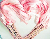 Enchanted Wedding Ribbon Wands 50 Pack IN YOUR COLORS (shown in pink and light pink)