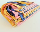 Custom Enchanted Wedding Ribbon Wands 50 Pack IN YOUR COLORS (shown in pink, deep gold, and navy blue ) Unique wedding ceremony exit idea