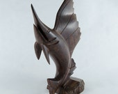 "1960s Hand Carved Wood Swordfish Sculpture - 11"" Wooden - B2"