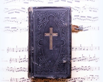 Antique Danish Leather Psalm book from 1881
