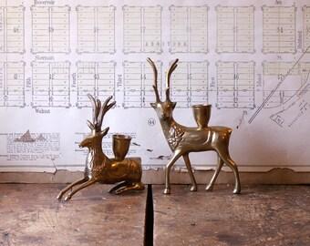 Vintage Brass Deer Candlestick Holders - Great Holiday Decor!