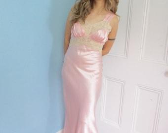 40s Vintage Satin Lace Bias-Cut Glamour Gown medium