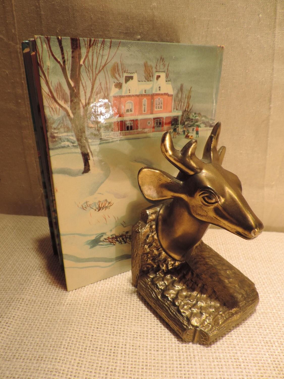 Vintage deer book end buck stag deer bronze deer 1950 home - Stag book ends ...