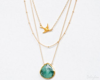 Layered Necklace Set - Set of 3 - Gemstone Necklace - Layering Necklaces - Gold Necklace - Sparrow Bird Necklace - Boho Chic - Statement