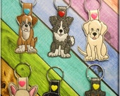 In The Hoop Dog Key Fob Set 4 Embroidery Machine Design Set