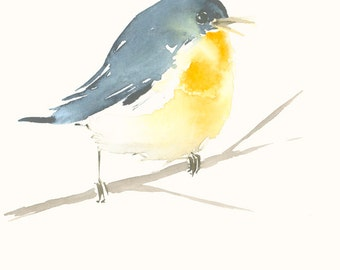 Original Bird Watercolor Painting Little Blue Bird