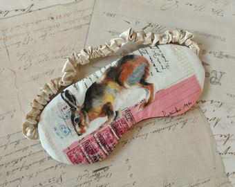 Rabbit Sleep Mask in Pink, Brown, Burgundy // Cotton & Satin Eye Mask