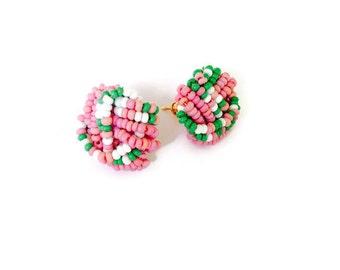 Vintage Czech Glass Seed Bead  Earrings, Post Earrings, Knot Cluster Earrings, NBW