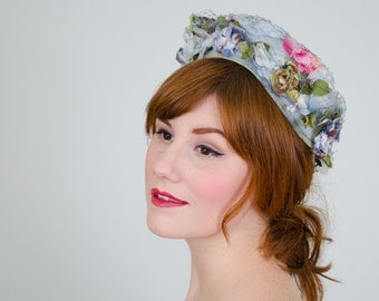 50% OFF SALE / 1950s vintage hat / flower hat / Morning Garden