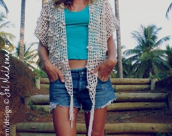 Crochet Pattern Cardigan Endless Summer PDF - boho shrug lace cover up - Instant DOWNLOAD