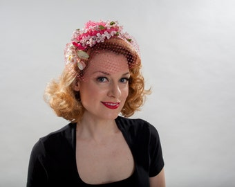 Vintage 1960s Pink Veil Hat - Floral Birdcage - Bridal Wedding Fashions