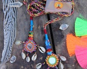Cowry Shell Camel Swag (Small), Multi-Colored Mirrored, Shell Camel Pom Pom, Tassel, Decor, Boho, Gypsy Fashion Design, Decorating Supply