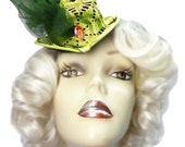 Green Mini Fascinator Top Hat Spring Bloom Victorian Steampunk Cocktail Tea Party