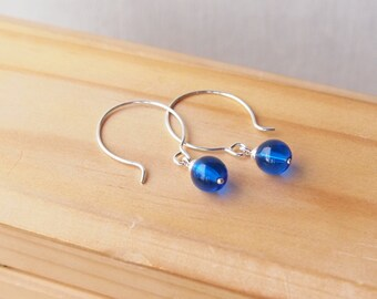 Silver and Blue Hoop Earrings - Blue Silver Drop Earrings - Blue Glass Dangle Earrings - Coloured Hoops - Gift for Her - Oversized Hoops