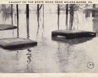 Flooded Highway- 1920s Antique Postcard- Caught on State Road- Wilkes Barre, Pennsylvania- Printed Photo- Weather Disaster- Paper Ephemera