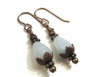 Amazonite Teardrop Earrings, Amazonite Earrings, Gemstone Earrings, Antique Brass Earrings