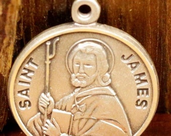 Saint James Sterling Religious Medal Pendant on 18 inch sterling silver rolo chain