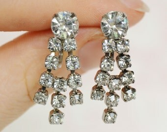 Vintage Screw-Back Earrings with Clear Dangling Rhinestones