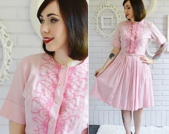 Vintage 1950s Pink Gingham and Embroidered Dress by Pat Perkins Size Small