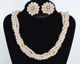 Vintage Necklace and Clip-On Earrings Set of Beaded Faux-Pearls